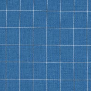 Blue and White Windowpane Check Super 150 Wool Suiting