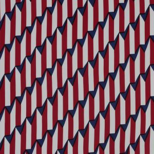 Red, White and Blue Striped Geometric Rayon Lining