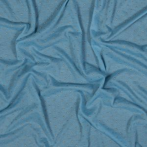 Baby Blue Gold-Dotted Polyester Jersey