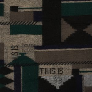 Beige, Navy and Green Geometric Wool Knit