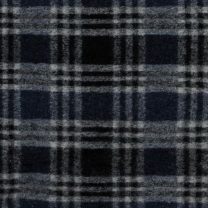 Navy and White Plaid Wool Knit