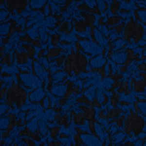 Bonded Cobalt Wool Woven and Black Lace with Flocked Floral Design