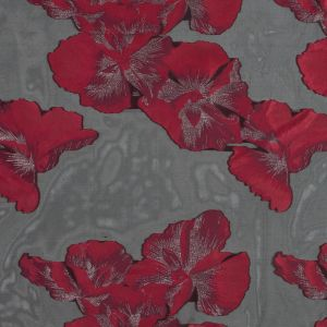 Red, Black and Metallic Silver Floral Organza Jacquard