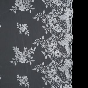 Silver on White Floral Corded Bridal Lace