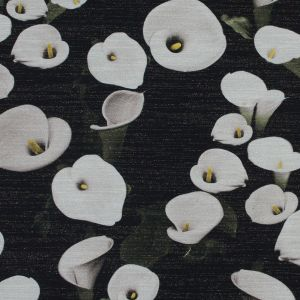 Metallic Gold and Black Tweed with Printed Calla Lilies