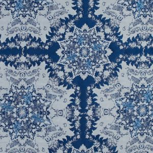 Blue and White Abstract Medallion Brocade