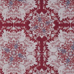 Red, Blue and White Abstract Medallion Brocade