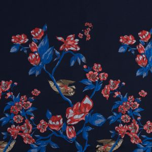 Evening Blue Paneled Jacquard with Birds and Flowers