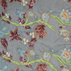 Orange, Blue and Green Floral Embroidered and Sequined Mesh