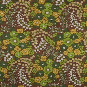 Brown, Yellow and Green Floral Silk and Rayon Jersey