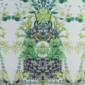 Green and White Floral Mikado Panel