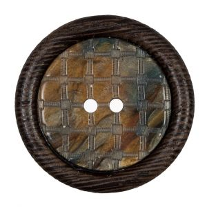 Brown Wooden 2-Hole Button - 55L/35mm