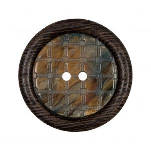Brown Wooden 2-Hole Button - 50L/32mm