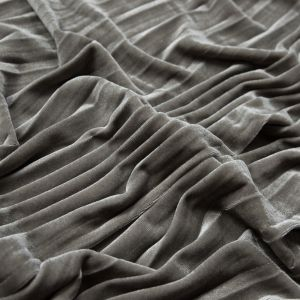 Gray Violet Pleated Velour