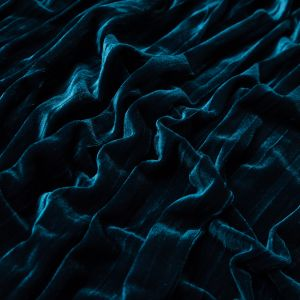 Pacific Blue Pleated Velour
