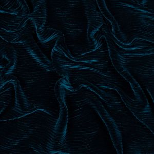 Pacific Blue Wavy Crinkled Velour