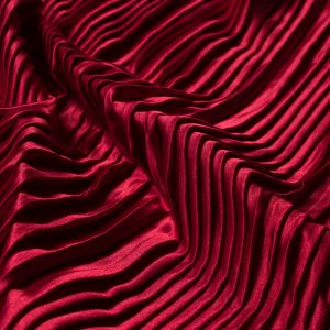 Red Pleated Stretch Satin