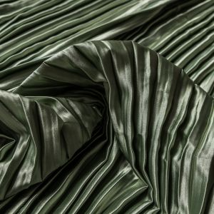 Pea Green Pleated Stretch Satin