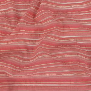 Pink, White and Lime Barcode Striped Cotton and Polyester Organza Seersucker
