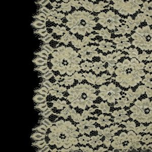 Famous NYC Designer Yellow Corded Floral Lace with Scalloped Edges