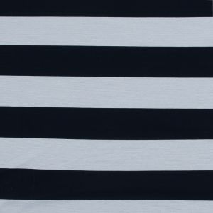 Navy and White Awning Striped Knit Pique