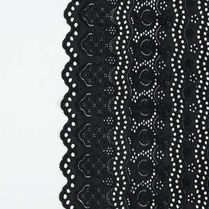 Black Striped Floral Embroidered Cotton Eyelet with Scalloped Edges
