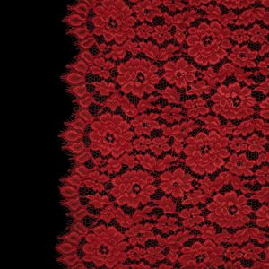 Famous NYC Designer Red Corded Floral Lace with Scalloped Edges