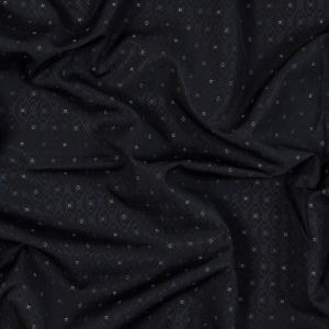 Black and Mutlicolor Embroidered Cotton Dobby Jacquard
