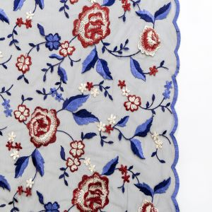 Red, White and Blue Floral Embroidered Mesh