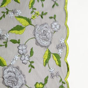 Green and Gray Floral Embroidered Mesh