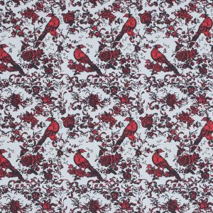 Red, White and Black Bird of Paradise Printed Stretch Cotton Shirting