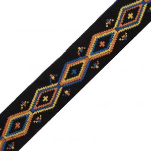 Black Woven Trim with a Multicolor Embroirdered Design - 2