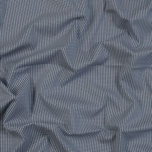 Navy and White Houndstooth Stretch Cotton Woven