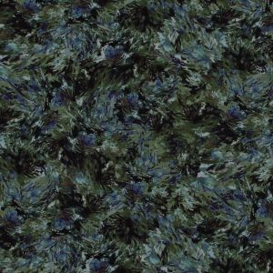 Green and Purple Abstract Floral Polyester Chiffon