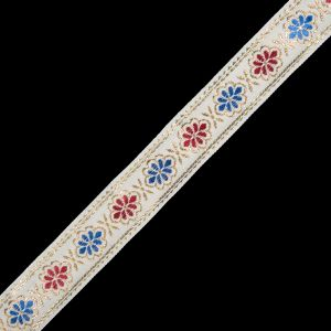 Metallic Gold, Blue and Red Floral Jacquard Ribbon - 1.25