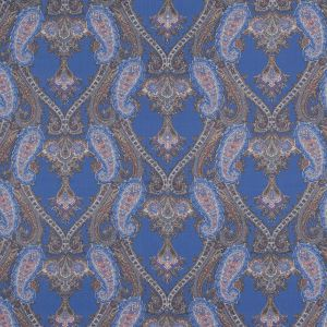 Periwinkle and Orange Paisley Cotton Voile