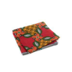 Red, Orange and Green Waxed Cotton African Print with additional Inlaid Pattern