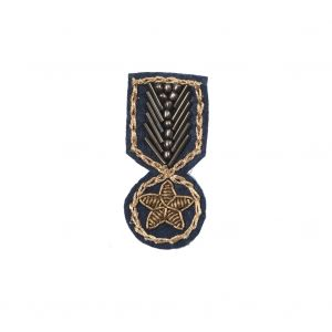 Italian Navy and Gold Embroidered and Beaded Iron-on Military Patch - 2