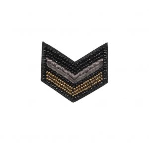 Italian Gold, Silver and Black Beaded Iron-on Military Patch - 2.5