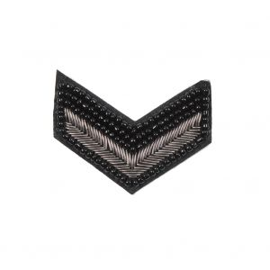 Italian Black and Silver Beaded Iron-on Military Patch - 2