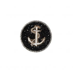 Italian Gold Anchor Patch with Black and Silver Rhinestones - 2.25