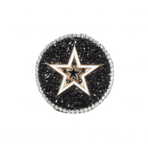 Italian Gold Star Patch with Black and Silver Rhinestones - 2.25