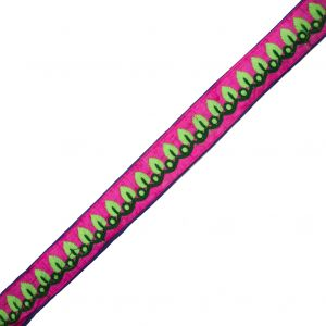 Embroidered Pink/Green Neon Trim - 1.5