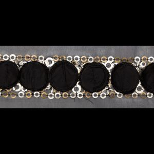 Italian 3D Black Organza Trimming with Gold Metal Sequins - 3