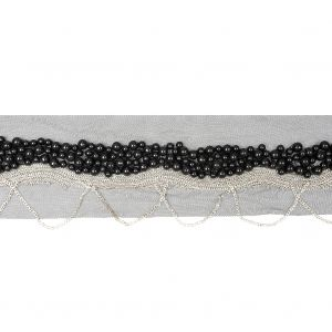 Italian Black Beaded Mesh Trimming with Silver Metal Chains - 3.5