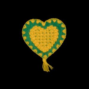 Yellow and Green Heart Iron-on Patches - 2.5