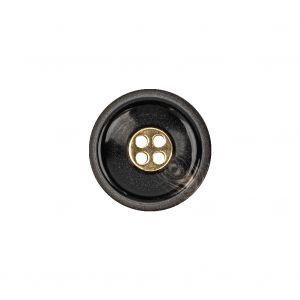Black Horn and Gold Metal 4-Hole Button - 25L/16mm