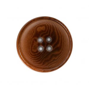 Chocolate Brown Horn 4-Hole Button - 40L/25.5mm