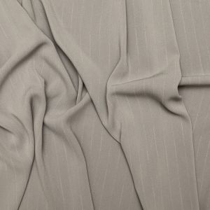 Ash Gray Pinstriped Stretch Polyester Crepe