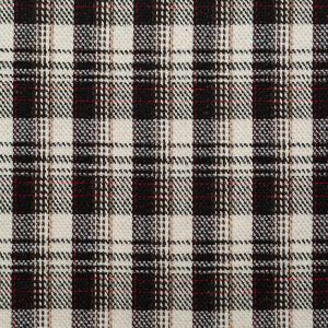 Black, Ivory and Red Plaid Tweed with Sequins